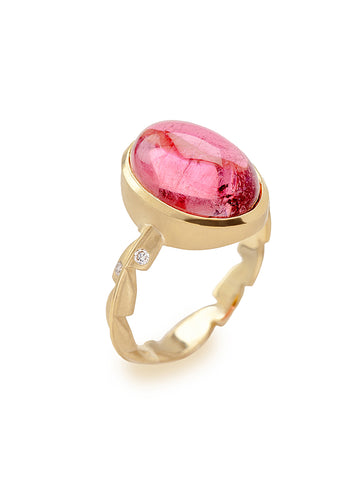 Pink Tourmaline Cabochon & Diamond Sweet Fern Ring
