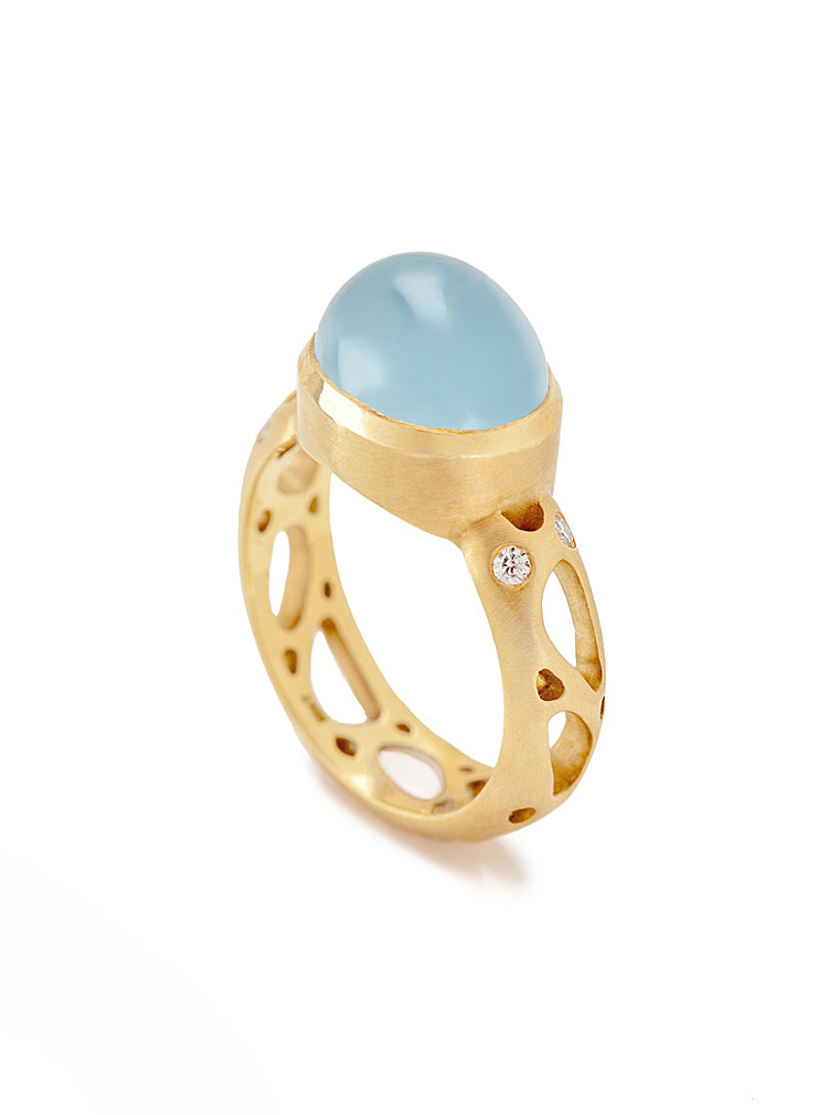Aquamarine Cabochon & Diamond Barcelona Ring