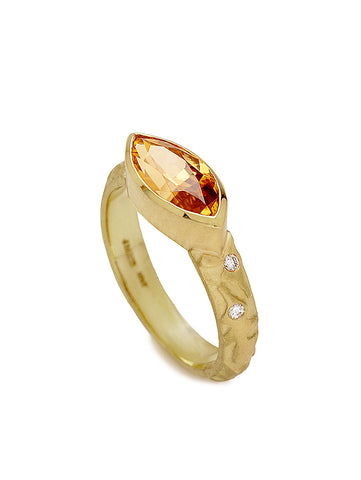 Honey Zircon, Diamond Sparkle & Oak Leaf Ring
