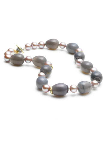 Freshwater Mauve Pearl & Grey Chalcedony Bead