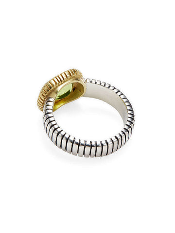 Checkerboard Cut Peridot Stripe Ring