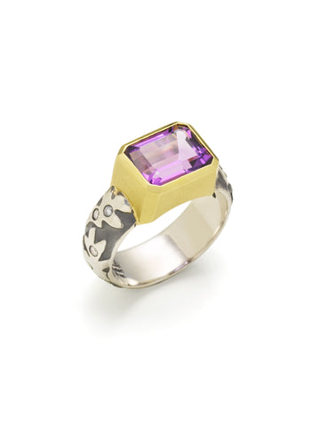 Amethyst Emerald Cut & Diamond Ring