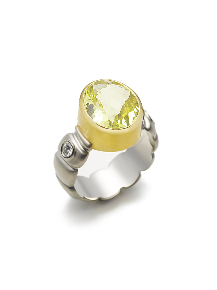 Lemon Quartz & Diamond Statement Ring