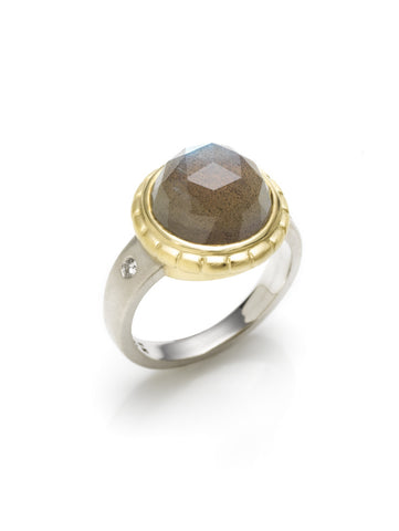 Rose Cut Labradorite & Diamond Ring