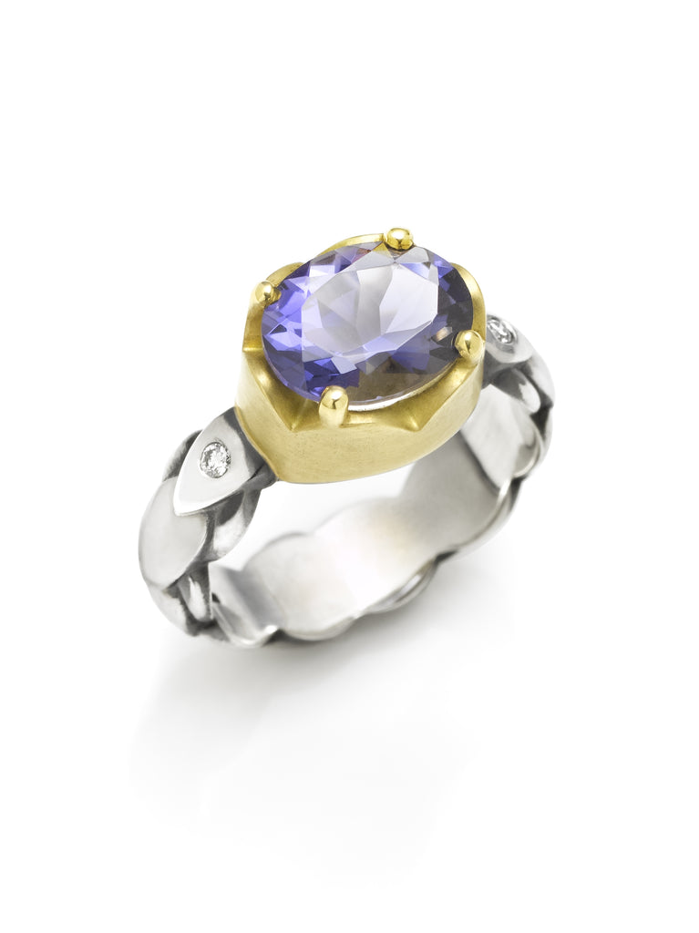Iolite, Diamond & 18K Entwined Ring
