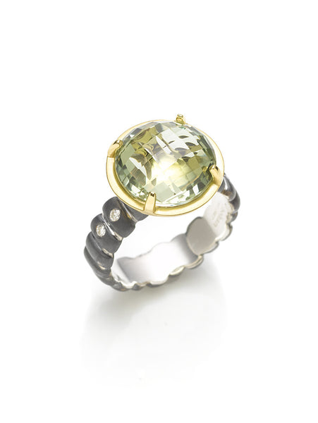 Checkerboard Cut Green Quartz & Diamond Ring