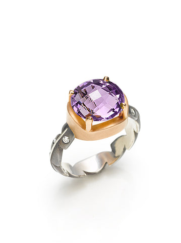 Rose Gold, Amethyst & Diamond Sweet Fern Ring