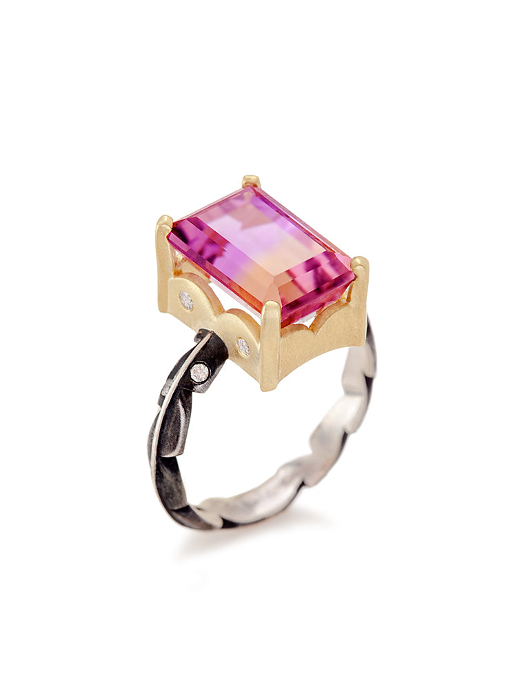 Emerald Cut Ametrine & Diamond Sweet Fern Ring