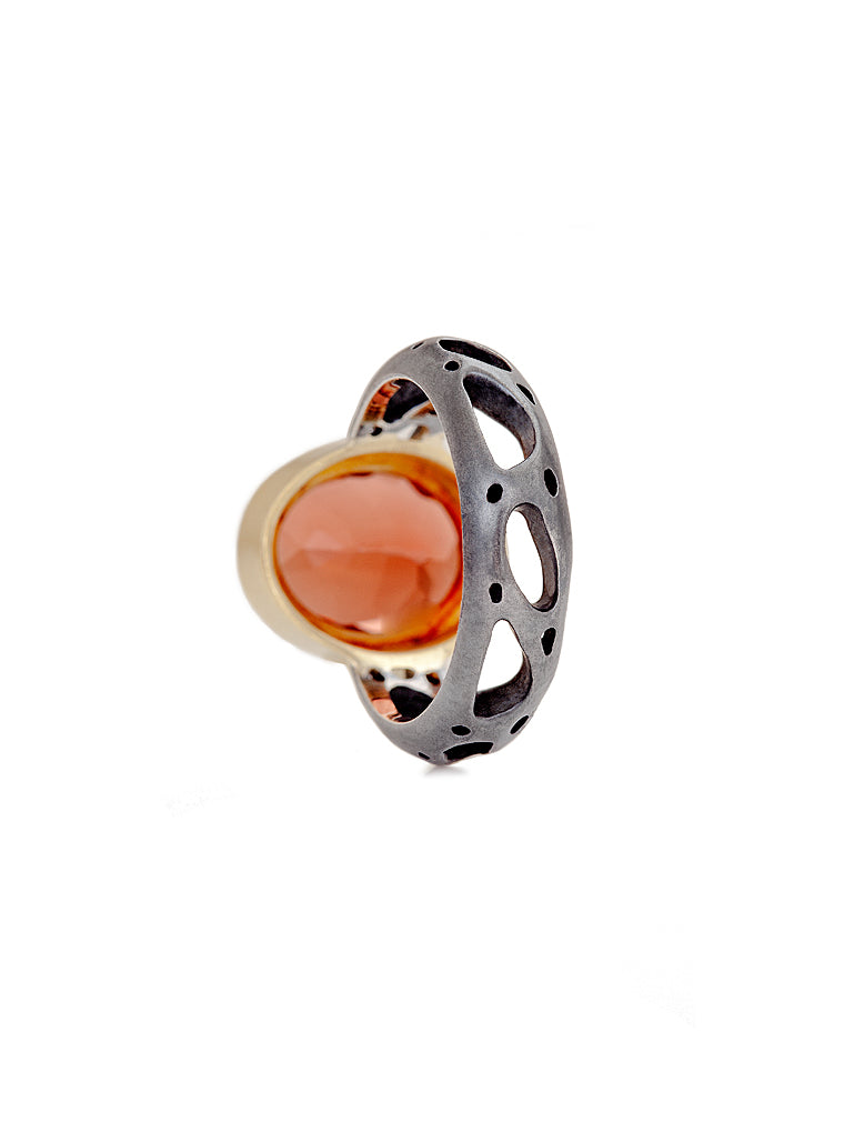 Orange Labradorite & Diamond Barcelona Ring