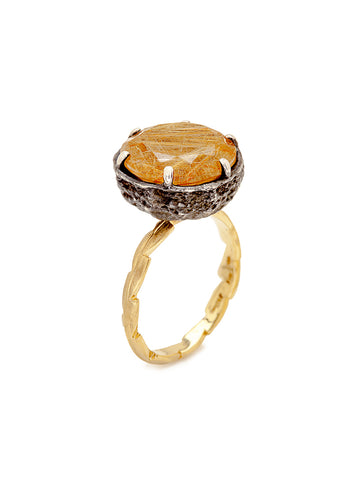Golden Rutile Quartz & Sweet Fern Ring