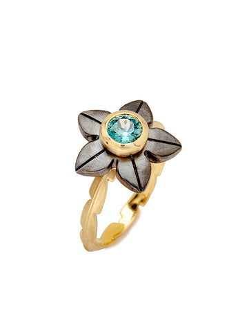 Blue Zircon Flower & Sweet Fern Ring
