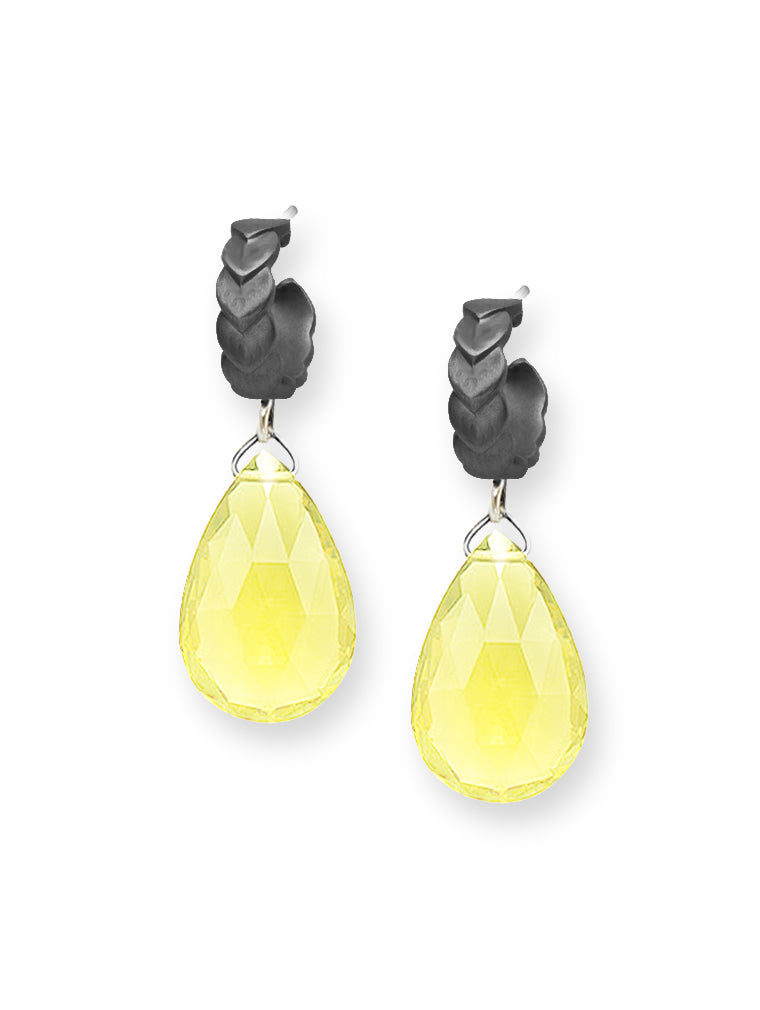 Lemon Quartz Briolette Hoop Earrings