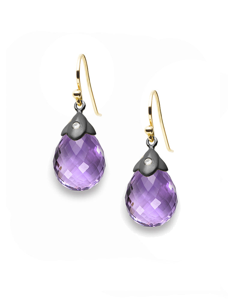 Amethyst Briolette & Diamond Earrings