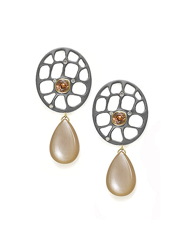 Peach Zircon, Moonstone, & Diamond Earrings