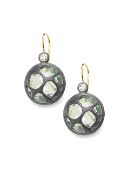 Green Quartz & Diamond Earrings