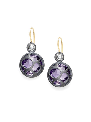 Amethyst & Diamond Petite Earrings