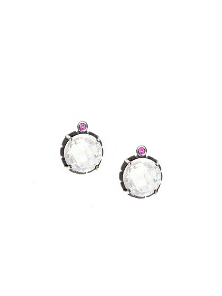 Pink Tourmaline & Rose Cut Quartz Earrings