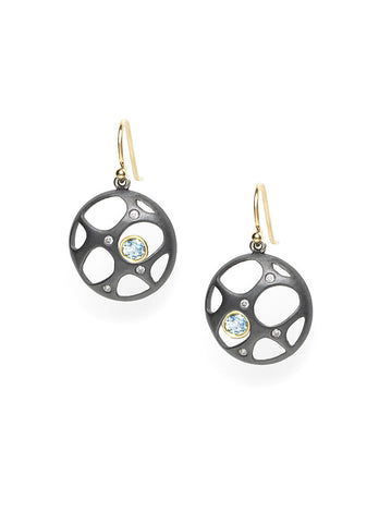 Diamond Sparkle & Aquamarine Earrings