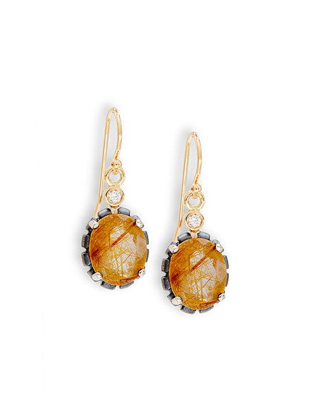 Golden Rutile Quartz & Diamond Earrings