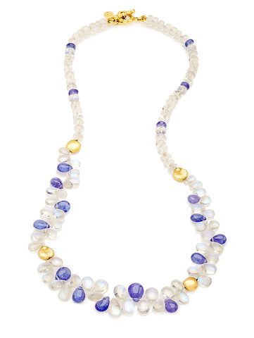 Moonstone, Tanzanite & 18K Bead Necklace
