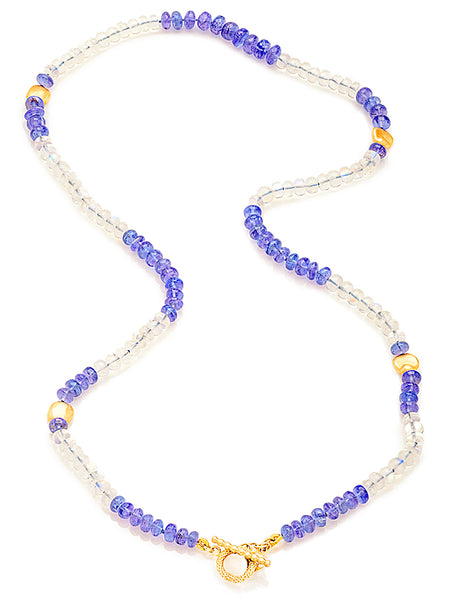 18K Gold, Tanzanite & Moonstone Beaded Necklace