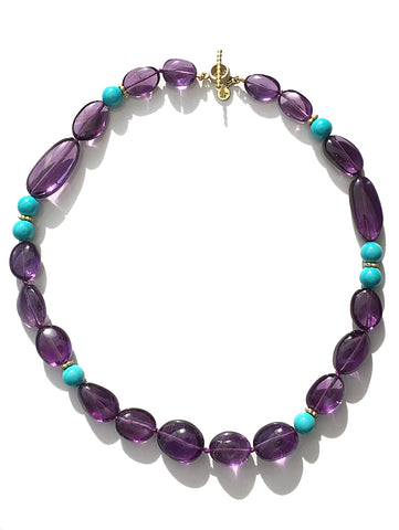 Sleeping Beauty Turquoise & Amethyst Bead Necklace