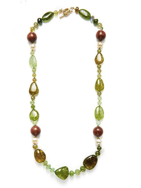 Mozambique Garnet, Pearl & Wood Bead Necklace