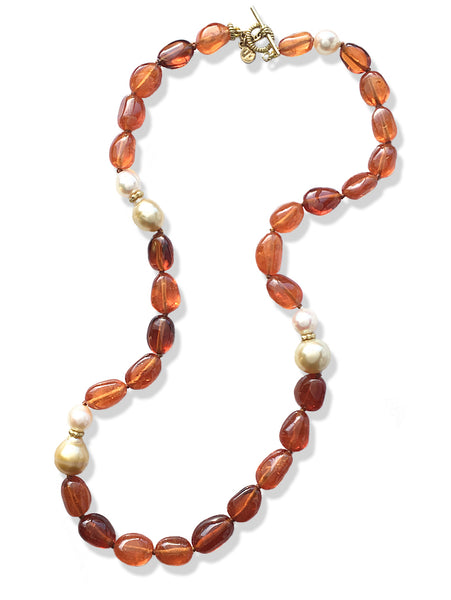 Spessartite Bead, Pearl & 18K Gold Necklace