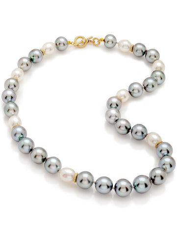 Multi-Color Pearl & Diamond Toggle Necklace