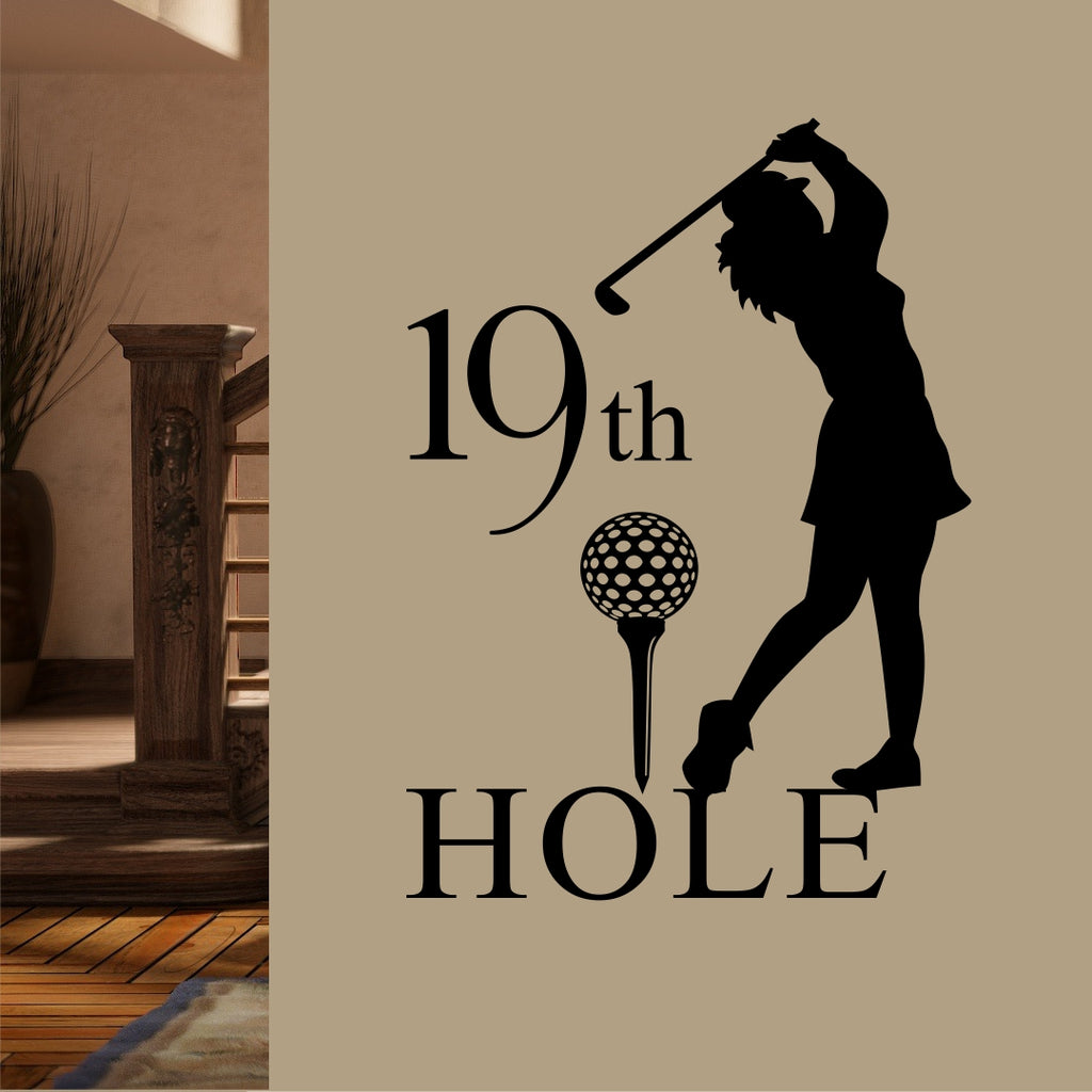 19th Hole Lady Golfer | Vinyl Wall Lettering | Sports Decal