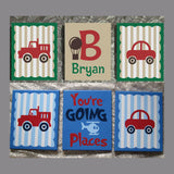Hand Painted Nursery Canvas Transportation Set You're Going Places