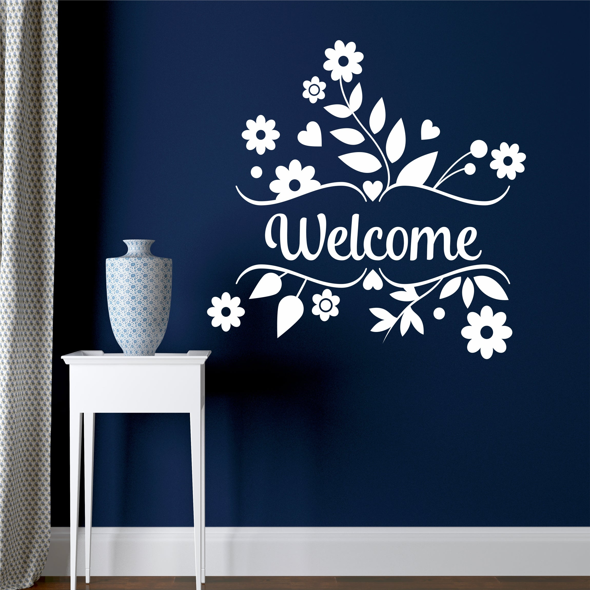 Decorative Flower Welcome Wall Decal Floral Door Sign Window