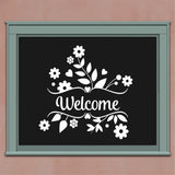 Decorative Flower Wall Decal Floral Welcome Door Window Sign