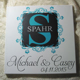 Hand Painted Wedding Save The Date Monogram Canvas Sign