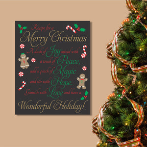 merry christmas recipe hand painted canvas