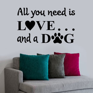 dog love wall decal