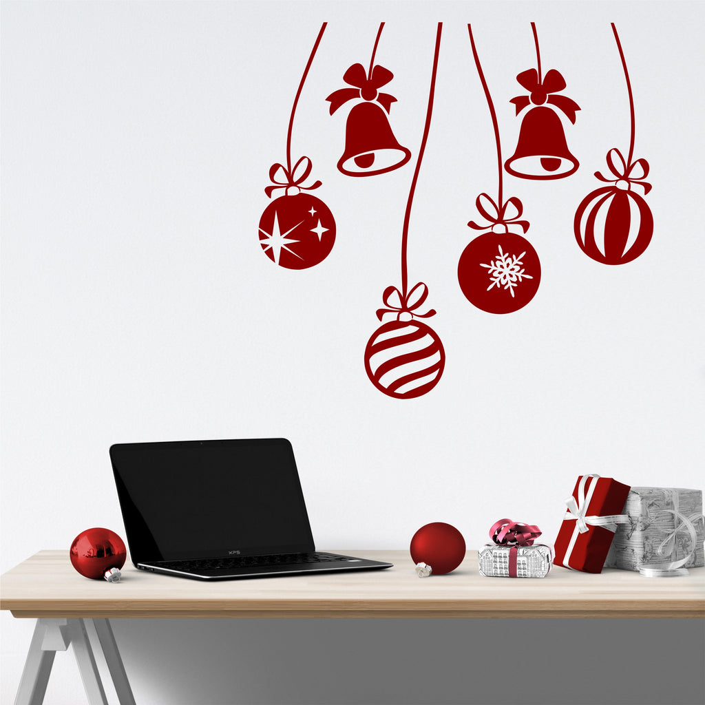 Christmas Ornaments Decal | Holiday Decoration | Vinyl Wall Decals