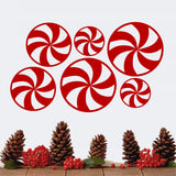 Set of 6 Assorted Peppermint Candies wall decal