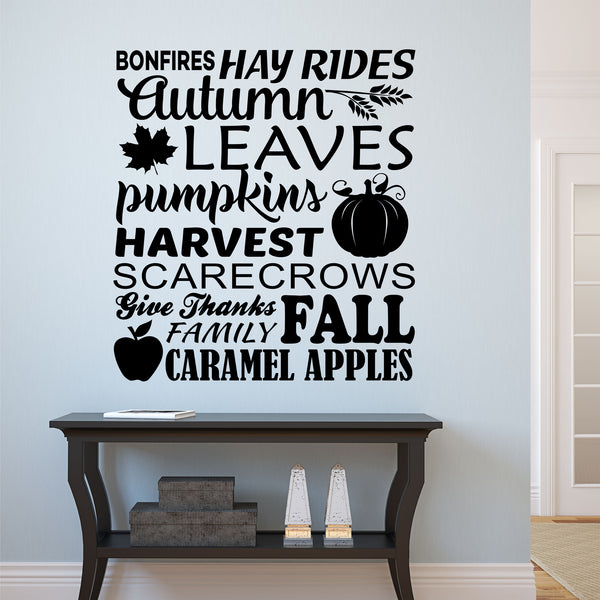 Autumn Word Collage Fall Harvest Vinyl Decal Vinyl