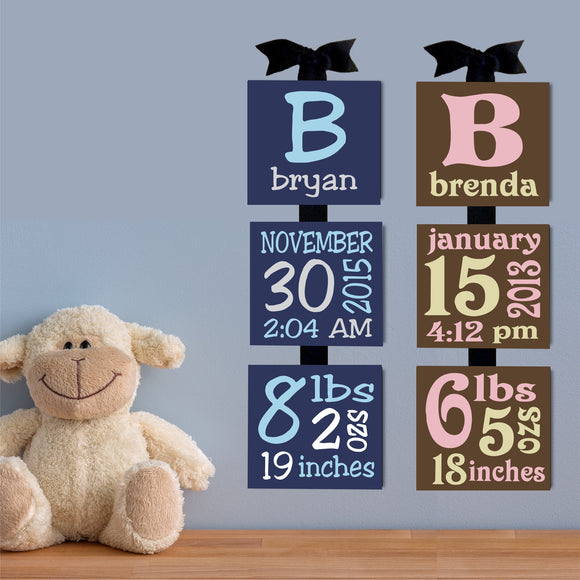 Custom Baby Birth Announcement Canvas Blocks Hand Painted Nursery Art