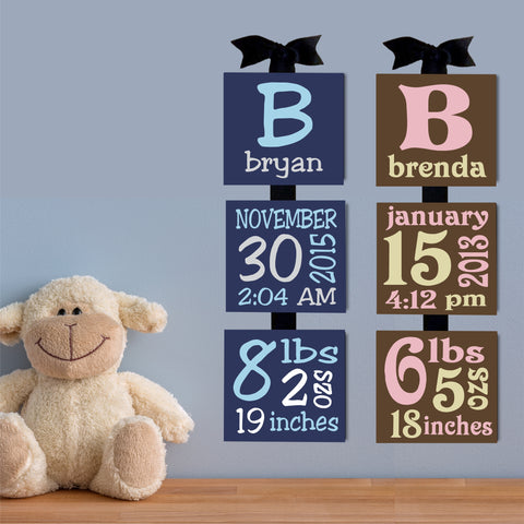 Baby Birth Canvas Blocks | Handpainted Nursery Decor | Baby Gift