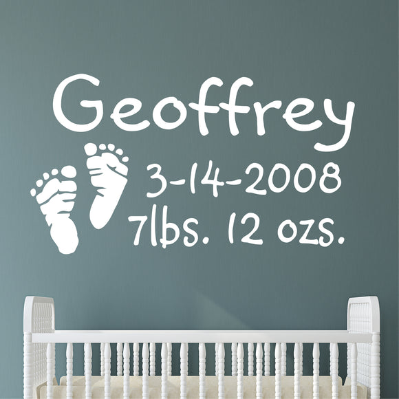 Custom Nursery Wall Decal Baby Footprints Birth Announcement Vinyl Lettering