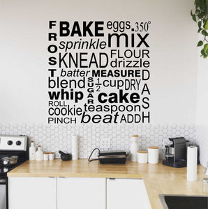 Wall Decal Baker Baking Word Collage
