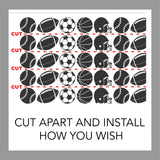 Sports Wall Decal Sport Balls Accent Border 16 Feet Room Decor