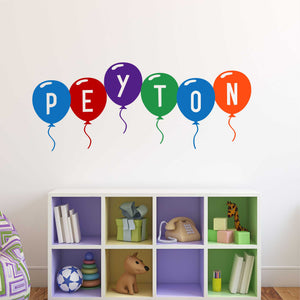 Playroom Wall Decal Multi Color Balloon Name