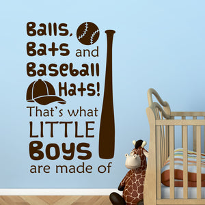 Wall Decal Balls Bats Baseball Hats