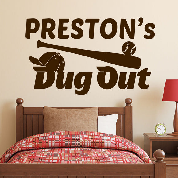 Sports Wall Decal Baseball Dug Out Name
