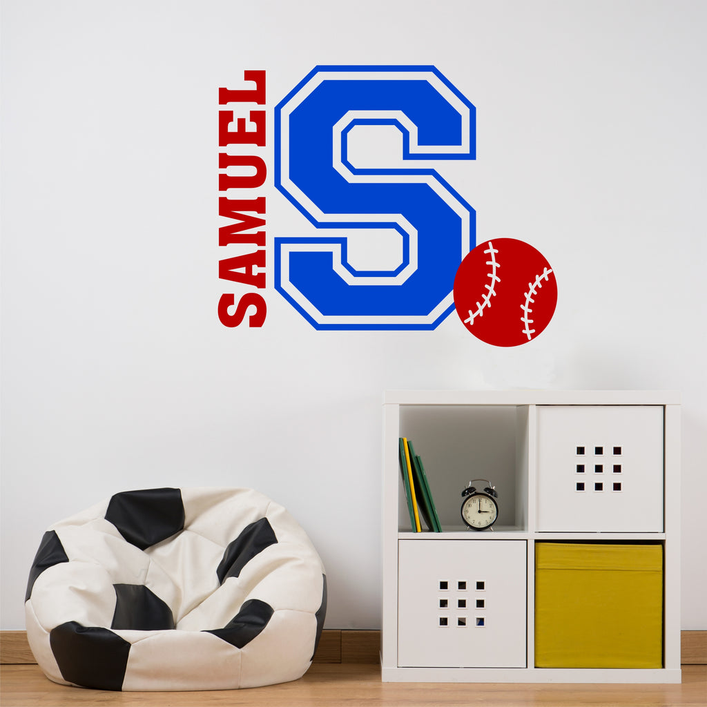 Varsity Initial Name Baseball | Vinyl Wall Lettering | Sports Decal