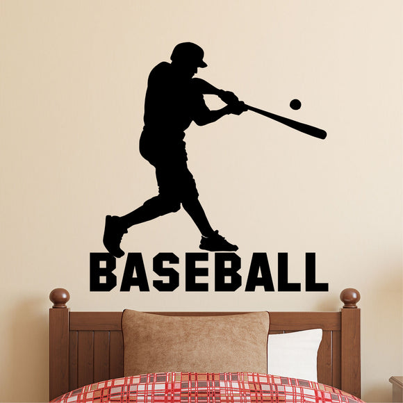 Sports Wall Decal Baseball Player Silhouette Kids Vinyl Lettering