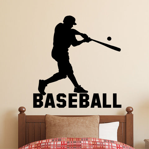 Baseball Player Silhouette | Sports Decals | Vinyl Wall Lettering